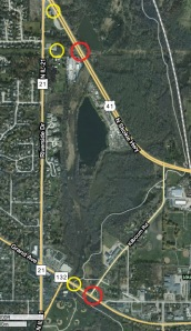 The yellow circles are where I took pictures, the red are flooded roads