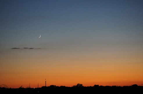 The moon and Mercury over Six Flags June 21, 2012