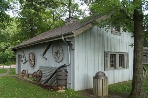 The Carriage House is decorated with antique carriage and wagon pieces