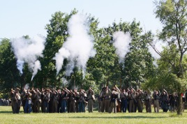 The Southern troops fired a volley in celebration of their victory