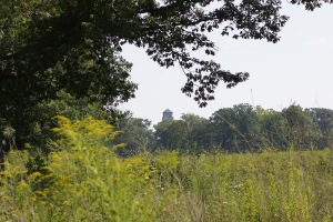 The water tower can be seen from many points in the preserve