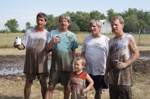 Kelley boys all, victoriously muddy!