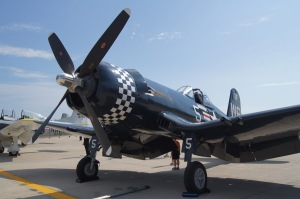 A F4U Corsair. Baa Baa Black Sheep, anyone? We won't see it later...
