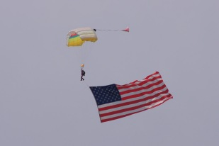 The lead jumper flew a huge American flag